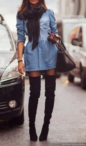 shoes,black boots,dress,shirt,blue jeans tunik,jeans,jean dress,short dress,cute dress,denim dress,knee high boots,thigh high boots,boots,boots!,nice dress too,black suede thigh high boots,denim,elastic waist,cinched waist,chambray,back thigh high suede boots