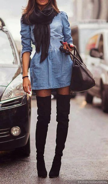 shoes black boots dress shirt blue jeans tunik jeans jean dress short dress cute dress denim dress knee high boots thigh high boots boots boots! nice dress too black suede thigh high boots denim elastic waist cinched waist chambray back thigh high suede boots