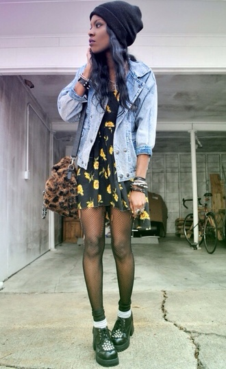 jacket shoes dress yellow grunge creepers fashion