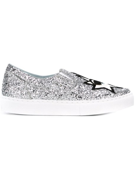 Chiara Ferragni women sneakers leather grey metallic shoes