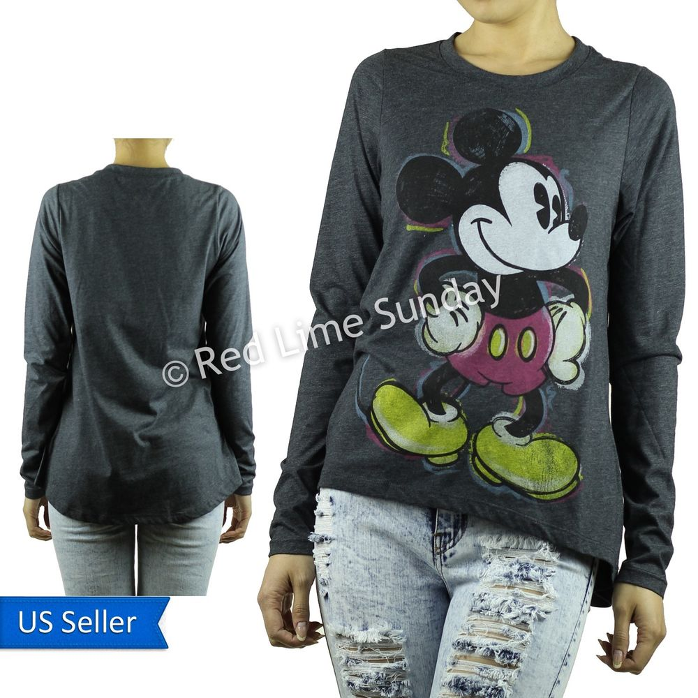 New Cute Disney Charcoal Gray Mickey Mouse Retro Print Long Sleeve Tee T Shirt