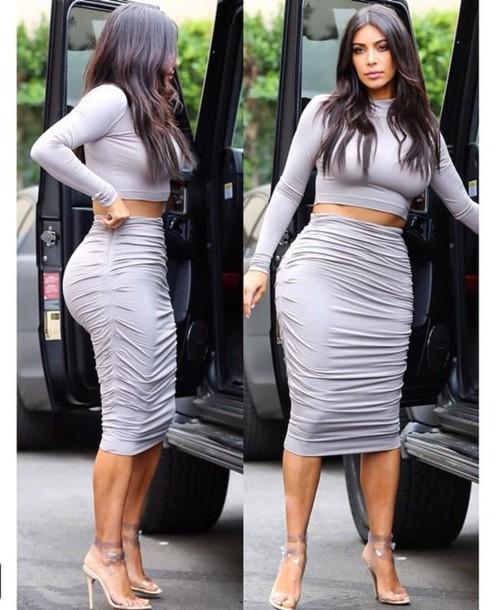skirt grey draped jersey midi skirt kim kardashian.