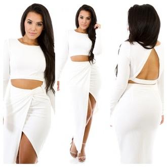 white two piece asymmetrical long sleeve top white skirt set white blouse white skirt white top