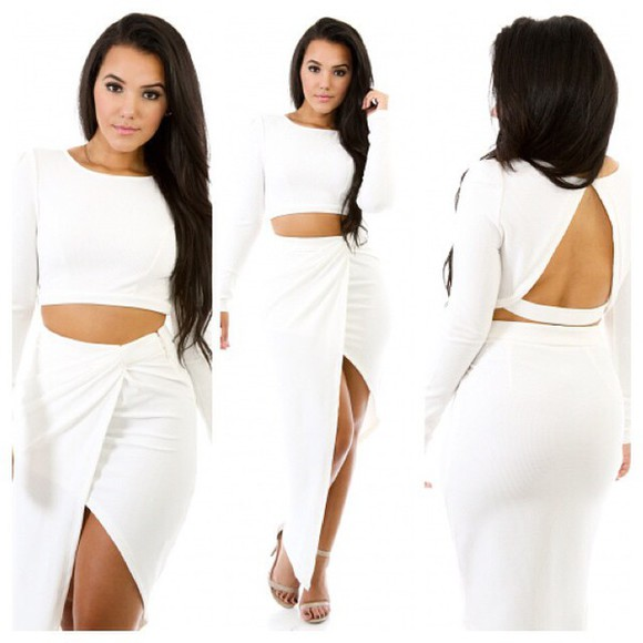 white blouse white two piece asymmetrical long sleeve top white skirt set white skirt white top