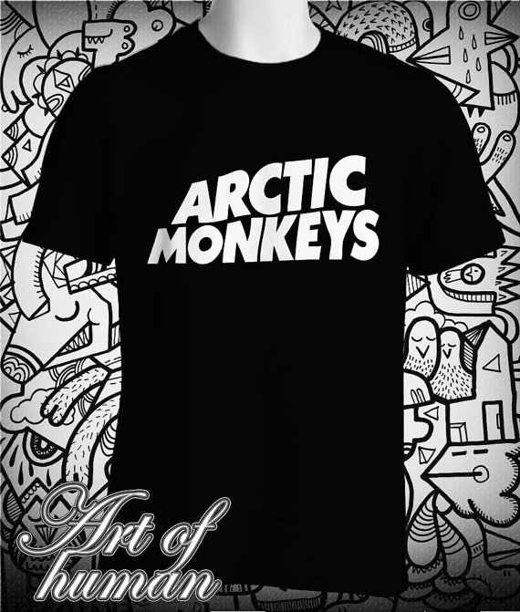 Arctic monkeys shirt logo printed t shirt for men and women black and white tee