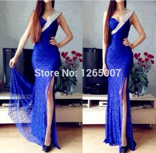 Aliexpress.com : Buy 2014 Fashion Sweetheart One Shoulder Silvery Beaded Blue Lace High Slit Sexy Court Train Long Dress Formal Dress Mermaid Sexy from Reliable dresses babies suppliers on SFBridal