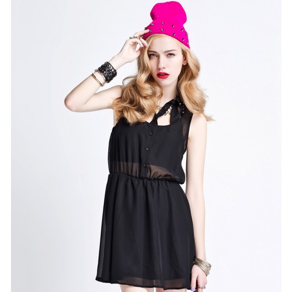 Sheer Mesh Skater Dress With Jewel Embellishment at Style Moi