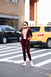 we wore what,blogger,t-shirt,shoes,suit,blazer,red jacket,red pants,sneakers,burgundy,velvet,cropped velvet pants