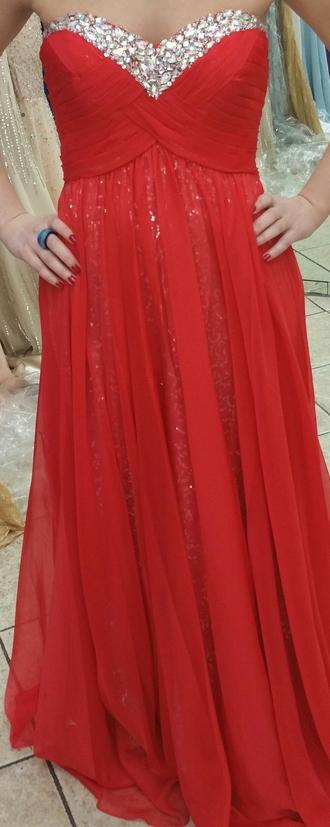 dress sequins chiffon strapless dress prom dress bridesmaid red bridesmaid dress red prom dress long dress