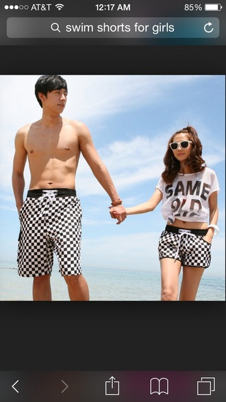 shorts swimwear swimshorts checkered checkers black and white shirt
