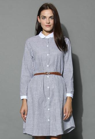 dress elegant stripes belted shirt dress in grey grey stripes chicwish