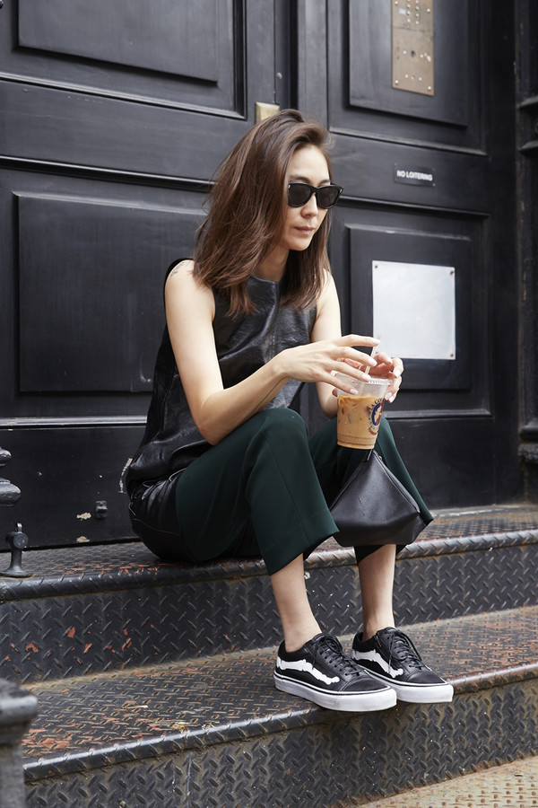 stop it right now blogger bag vans outfits vans green pants top leather top sleeveless sleeveless top sunglasses black sunglasses low top sneakers black sneakers sneakers