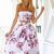 Multicolor Strapless Floral Open Belly Midi Dress