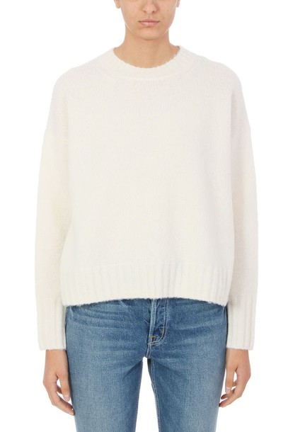 sweater crewneck sweater wool white