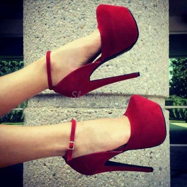 shoes red heels suede high heels