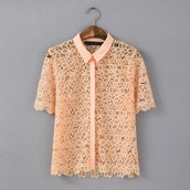 top,lace top,orange blouse,guipure
