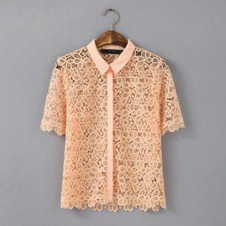 top lace top orange blouse guipure