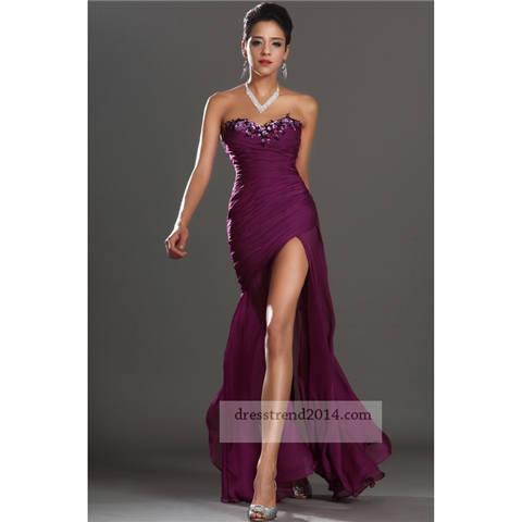 Graped beaded ruched slit mermaid prom dress [grape long prom dress]