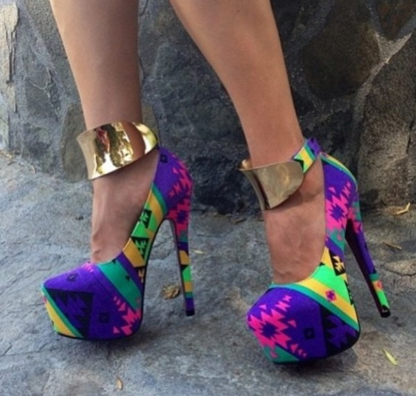 shoes colorful sexy cuff heels