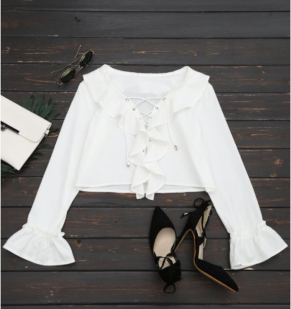 blouse girly white white top crop tops crop cropped long sleeves
