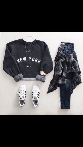 sweater shirt grey black gold watch jeans sneakers white white sneakers grey sweater grey shirt cool style cool style beautifu outfit teenagers teen outfit young
