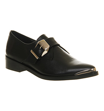 Office Top Monk Black Leather - Flats
