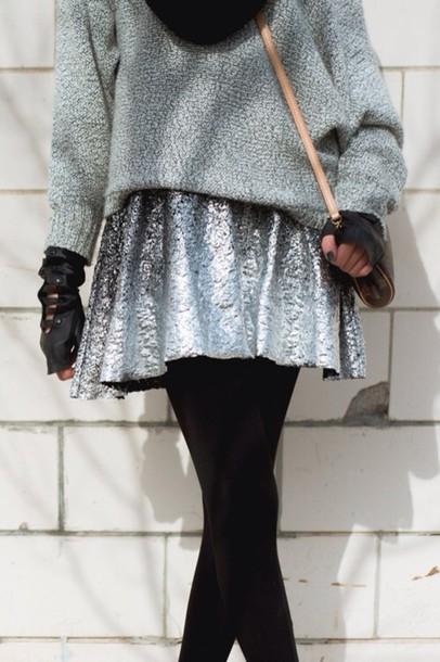 skirt sparkle grey silver skater skirt
