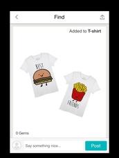 t-shirt,bestfriend shirt,shirt,summer,summer top,summer shirt,hamburger,fashion,style,tumblr outfit,tumblr shirt