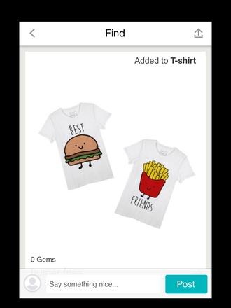 t-shirt bestfriend shirt shirt summer summer top summer shirt hamburger fashion style tumblr outfit tumblr shirt