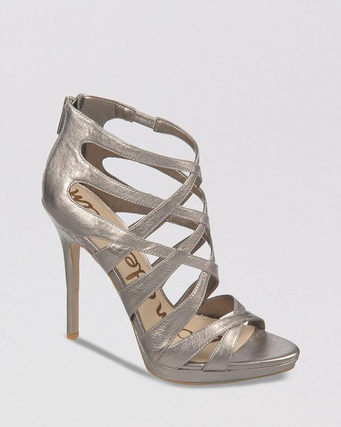 shoes sam edelm silver heels