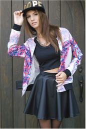 jacket,summer jacket,light jacket,mirror,mirror print top,mirror print,outerwear,trendy,leather skirt,flare skirt,black skirt,dope,dope hat,dope snapback,snapback