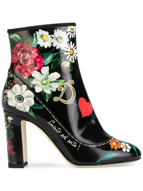women ankle boots printed ankle boots leather black shoes