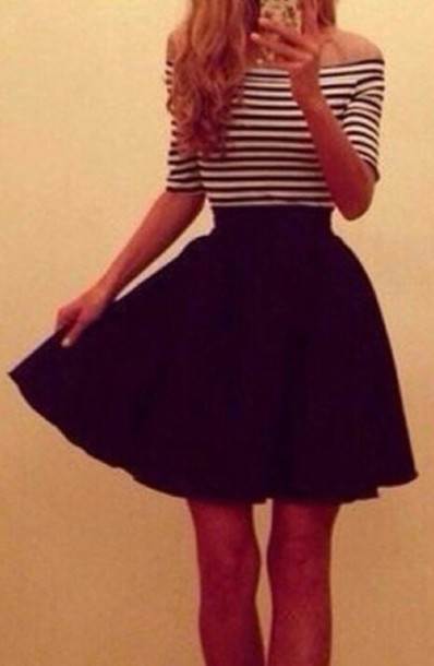 dress striped dress stripes balck and white cute dress long dress short dress dress ariana grande dress