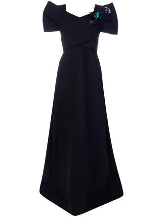 gown women blue silk wool dress
