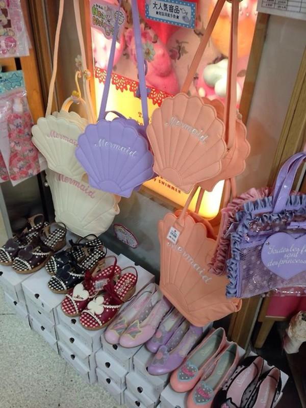 bag mermaid shell pastel cute kawaii beautiful pretty shopper shopper bag kawaii bag