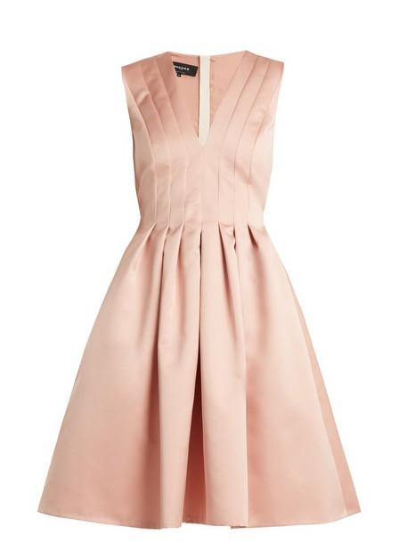 Rochas dress satin dress pleated satin light pink light pink