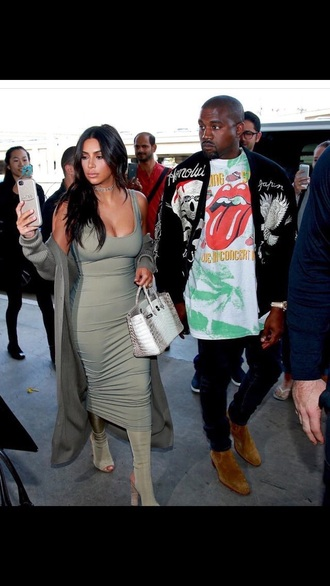 shoes grey boots peep toe boots kim kardashian khaki green dress bodycon animal print menswear graphic tee mens jeans kanye west all military green outfit