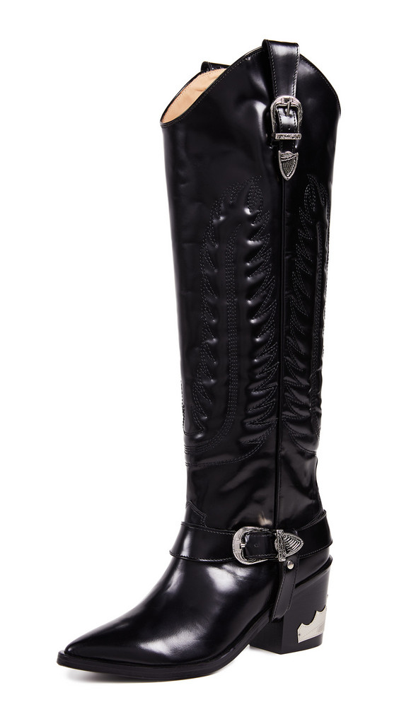 Toga Pulla Tall Buckled Boots in black