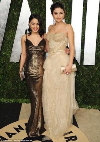 dress vanessa hudgens gold prom dress formal dress formal prom long dress shiny gold dress ceremony sequin gold dress