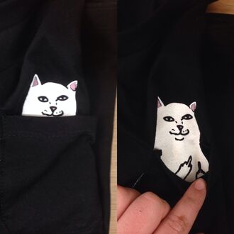 t-shirt top shirt black white fashion tumblr sweater pocket t-shirt funny style cool animal cats