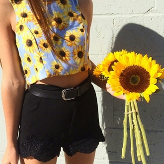 top on point clothing crop tops halter top halter crop top sunflower shirt sunflower sunflower top summer summer outfits light blue blue yellow black girly cute black shorts shorts lace black lace belt fashionista hipster shirt