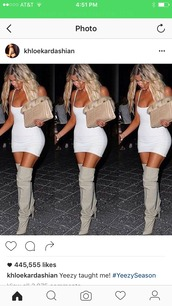 shoes,khloe kardashian,thigh high boots,dress,white,white dress,bodycon,bodycon dress,mini,mini dress,party dress,sexy party dresses,sexy,sexy dress,party outfits,sexy outfit,summer dress,summer outfits,spring dress,spring outfits,fall dress,fall outfits,classy dress,cocktail dress,pool party,celebrity style,holiday dress,cute,cute dress,girly,girly dress,date outfit,birthday dress,summer holidays,clubwear,club dress,graduation dress,engagement party dress,dope,tight