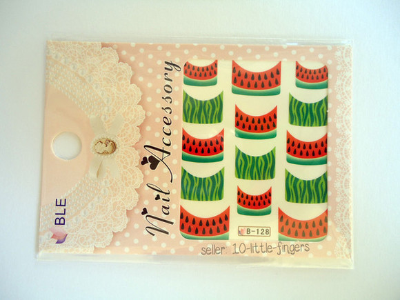 beach summer outfits green nail accessories nail polish stickers decals Nails french stylish watermelon print