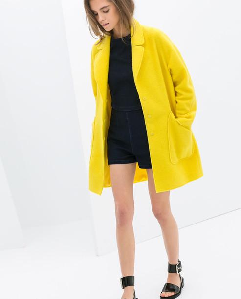 jacket yellow zara mohair blazer neon