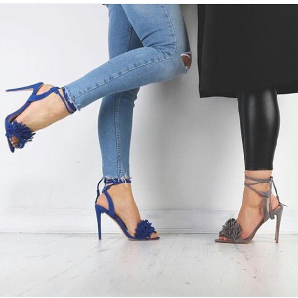 c3d5729a5ab Missguided - Tassel Detail Barely There Heeled Sandals Cobalt Blue