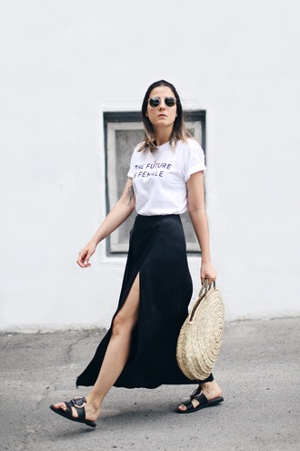 elif filyos blogger t-shirt skirt jewels shoes bag basket bag white t-shirt maxi skirt black skirt slit skirt wrap skirt slide shoes black slides sunglasses