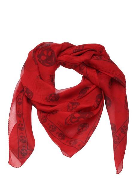 skull chiffon classic scarf print silk dark dark red red