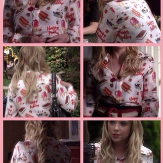 blouse pink hanna marin pretty little liars ice cream perfection white chocolate print cotton
