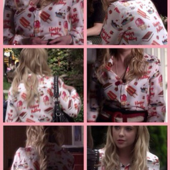 print blouse pink white hanna marin pretty little liars ice cream pink,dress,prom,2014,love,full length,forever,hill,model,beautiful,heart,ball,dresses,sparkle,sequin perfection lovely pepa amazing patent mousse clou red bottom flats black golden color,americanapparel,jersey,beige,nude,wanties,helgonets,tjejigt,tumblr,girl,makeup,skirt,shorts,br chocolate cotton