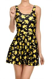 dress,pikachu,pokemon,yellow dress,yellow,spandex,geek,lovely,japan,japanese fashion,sleeveless,sleeveless dress,video games,short,short dress